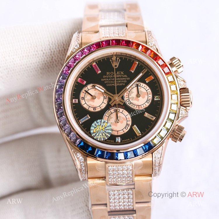 Best Replica Rolex Rose Gold Rainbow Daytona Swiss 7750 Automatic Watch For Men (1)