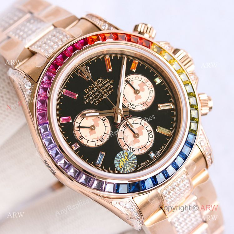 Best Replica Rolex Rose Gold Rainbow Daytona Swiss 7750 Automatic Watch For Men (3)