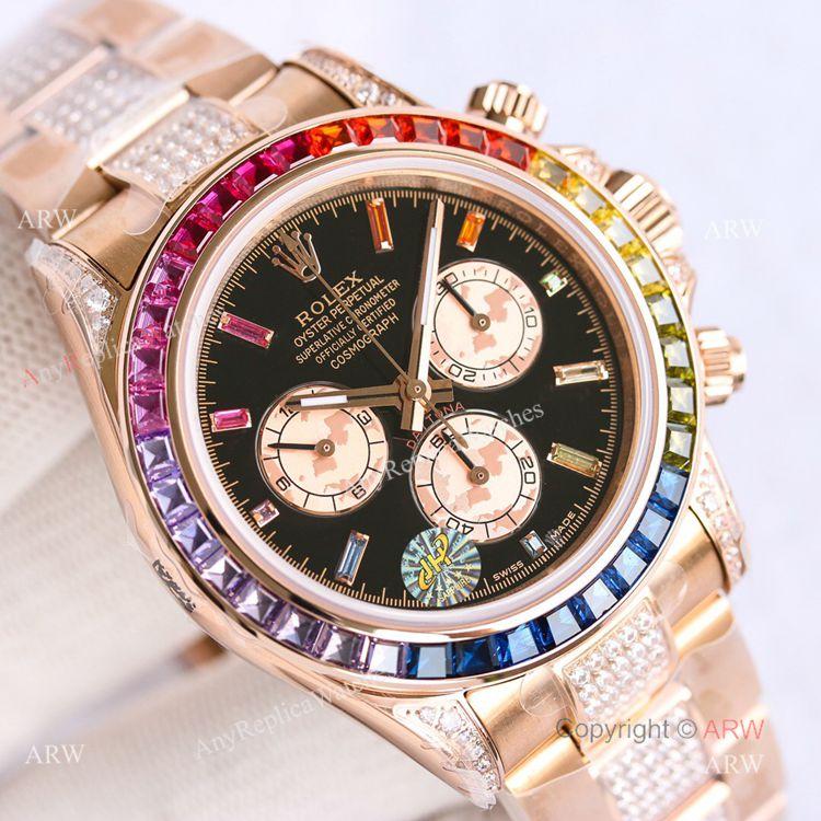 Best Replica Rolex Rose Gold Rainbow Daytona Swiss 7750 Automatic Watch For Men (3)