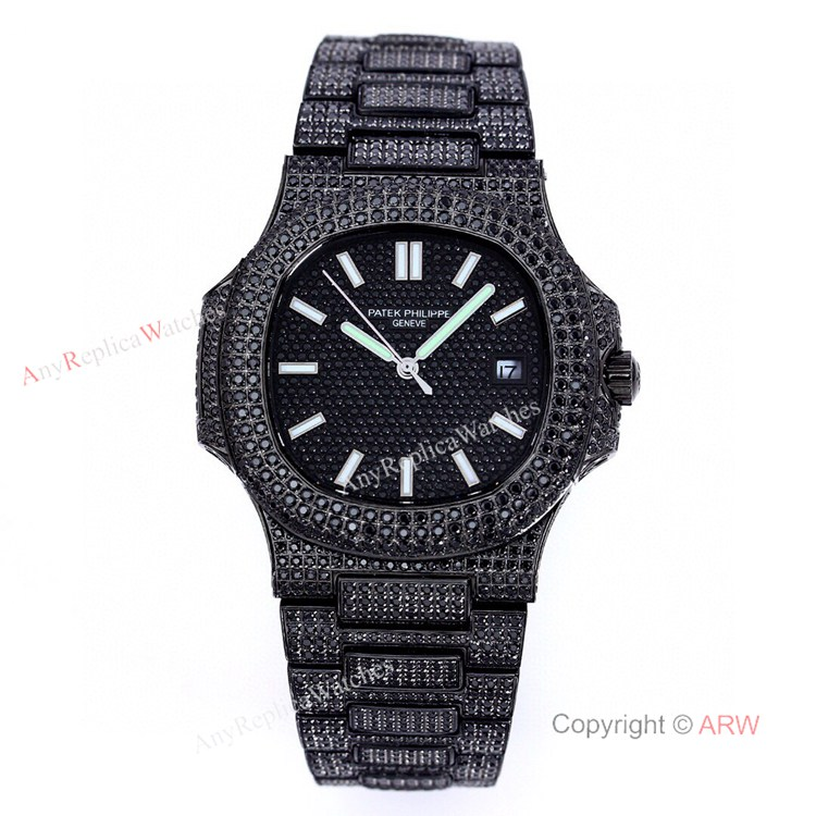 High Quality Replica Iced Out Patek Philippe Nautilus Black Diamonds Automatic Watches 40mm (1)