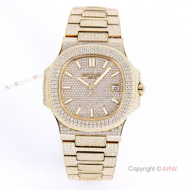 Iced Out Patek Philippe 5719 Patek Philippe Nautilus Bust Down All Gold Watch Replica (1)