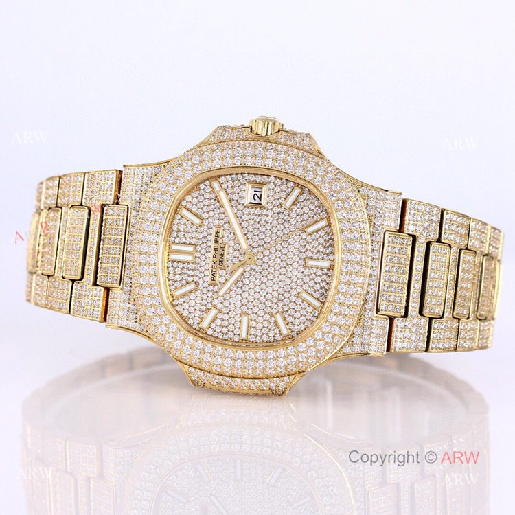 Iced Out Patek Philippe 5719 Patek Philippe Nautilus Bust Down All Gold Watch Replica (9)
