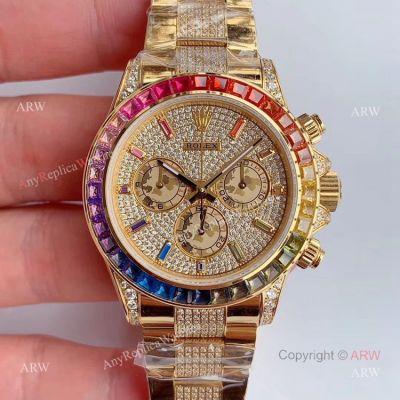 JH Factroy New Gold Rolex Daytona Rainbow Diamonds Watch Replica - Swiss Cal 4130 (1)