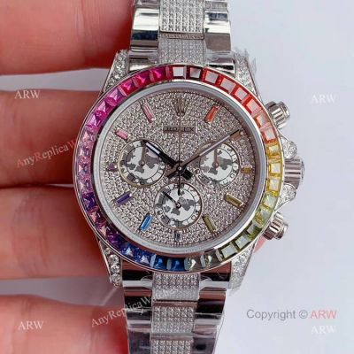 JH Factroy New Rolex Daytona Rainbow Full Pave Diamond Replica Watch - Swiss 4130 Movement (1)