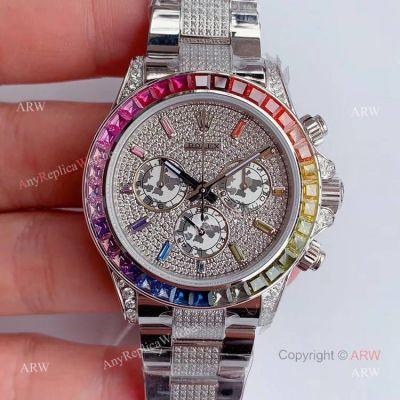 JH Factroy New Rolex Daytona Rainbow Full Pave Diamond Replica Watch - Swiss 4130 Movement (1)