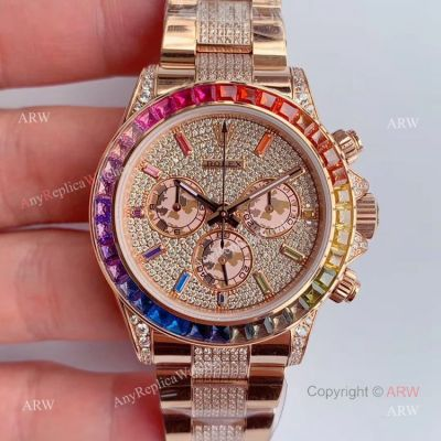 JH Factroy New Rolex Iced Out Diamond Watch - Rolex Rainbow Daytona Everose Swiss Made (1)