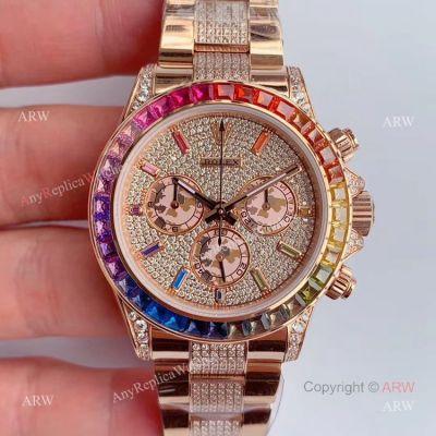 JH Factroy New Rolex Iced Out Diamond Watch - Rolex Rainbow Daytona Everose Swiss Made (1)