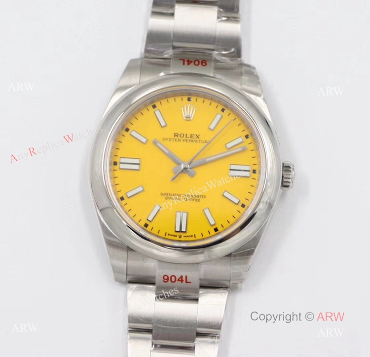 Men's Rolex Oyster Perpetual 41 Replica Watches With Yellow Face (1)
