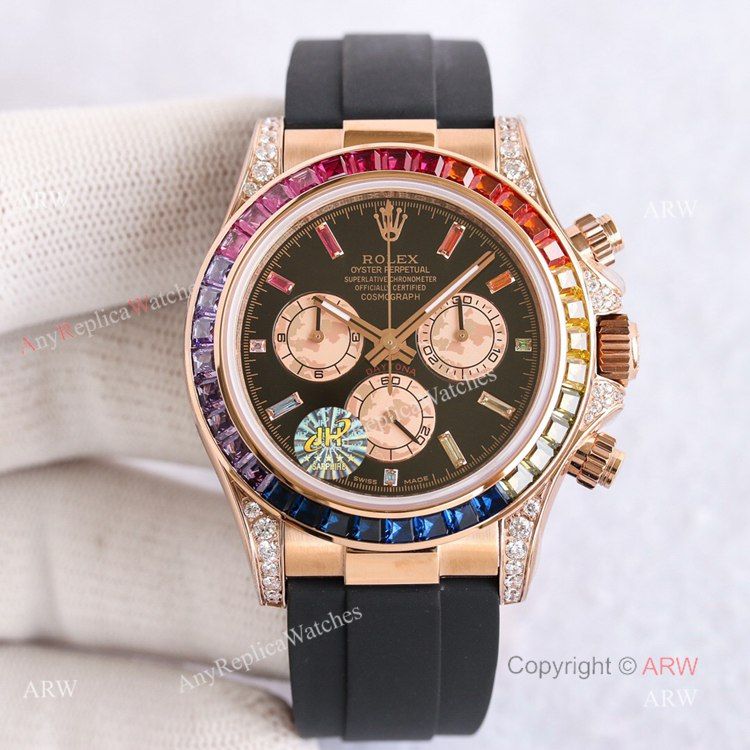 New Rolex Daytona Rainbow Rose Gold Diamond Watches With Oysterflex Strap Top Replica (1)