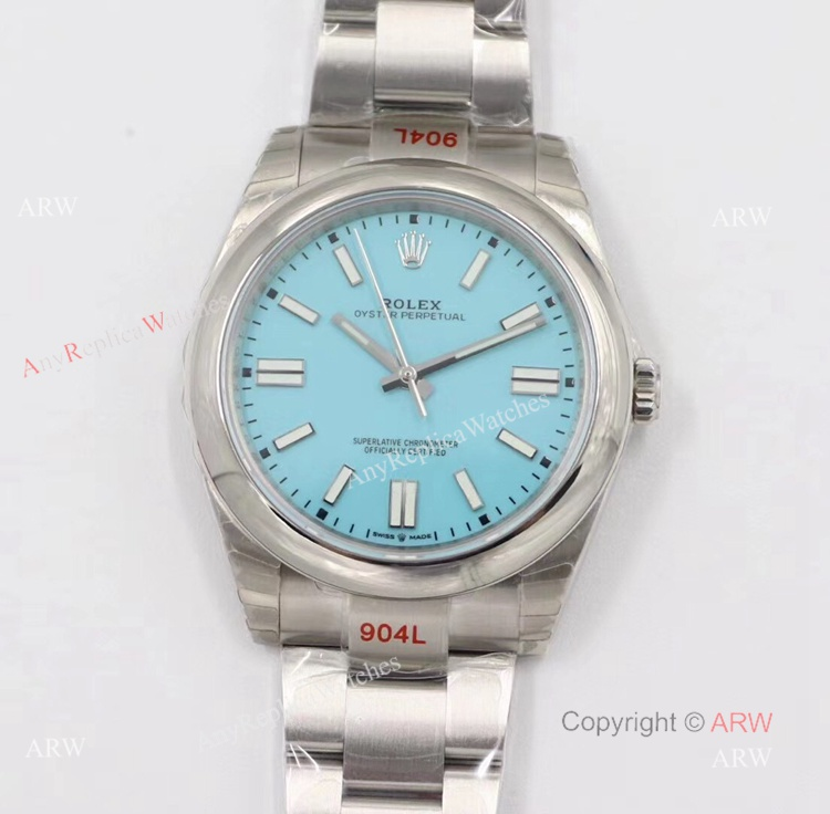 New Rolex Oyster Perpetual 2020 Swiss Replica Watches With Turquoise Blue Dial And Oyster Bracelet (1)