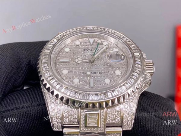 Replica Rolex GMT-Master II 116769 Ice Watch Stainless Steel Diamond Dial (9)