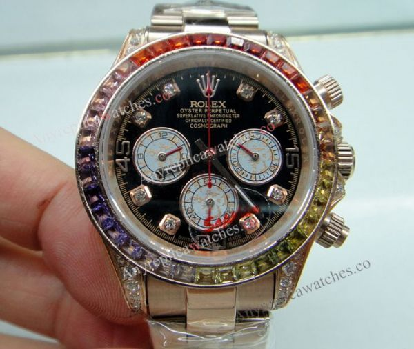 Rolex Daytona Rainbown Watch Rose Gold Diamond Lady size (5)