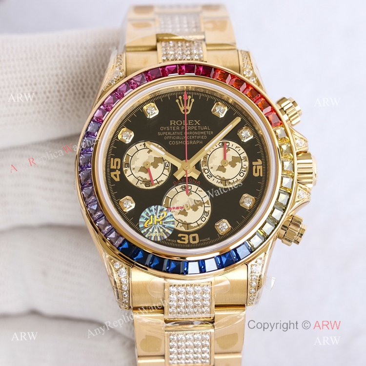 Swiss Replica Rainbow Rolex Daytona Gold With Black Diamond Dial Rolex Oyster Band With Diamonds (1)