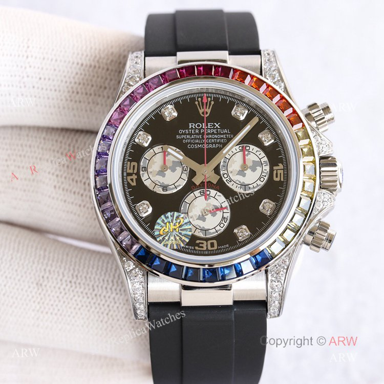 Swiss Replica Rolex Rainbow Daytona Black Face With Diamonds Oysterflex Strap Watch (1)