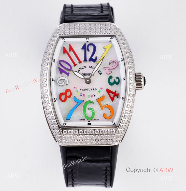 Best Replica Franck Muller Vanguard Diamond Watch For Women With Black Leather Strap (1)