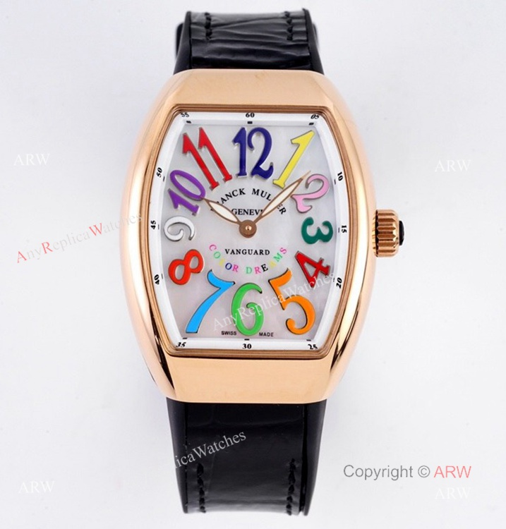 Replia Franck Muller Vanguard Rose Gold V32 Women Watch With Colorful Numbers (1)
