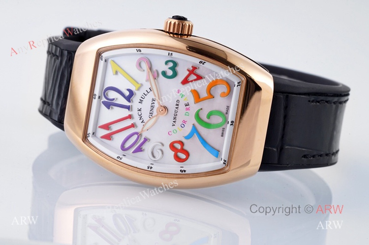 Replia Franck Muller Vanguard Rose Gold V32 Women Watch With Colorful Numbers (7)