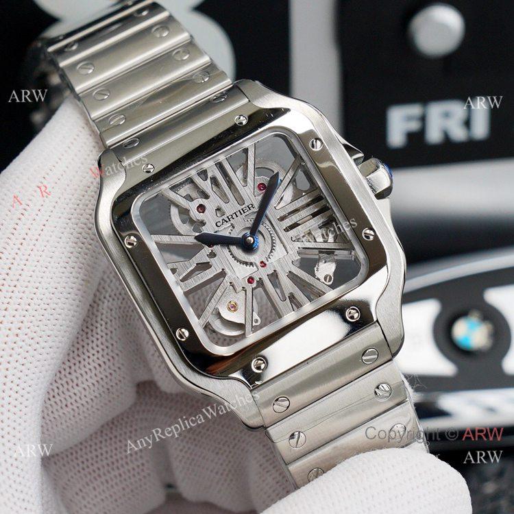 Best Skeleton Cartier Santos Stainless Steel Watch For Men High End Replica (9)