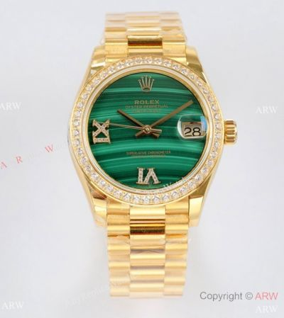 EW Factory Rolex Oyster Perpetual Datejust 31mm Watch Malachite Face Diamond Bezel