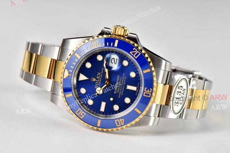 Clean Factory Rolex 116613 LB Rolex Smurf Submariner Stainless Steel & Gold Superclone Watch (4)