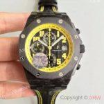 replica-audemars-piguet-royal-oak-offshore-bumble-bee-26176foood101cr02-jf-forged-carbon-black-dial-swiss-7750
