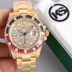 Swiss replica Rolex GMT Master II Rainbow Diamond Bezel Diamond dial All Gold Watch